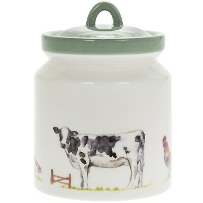 Country Life Farm Design Fine China Canister Home Kitchen Storage Container Tin
