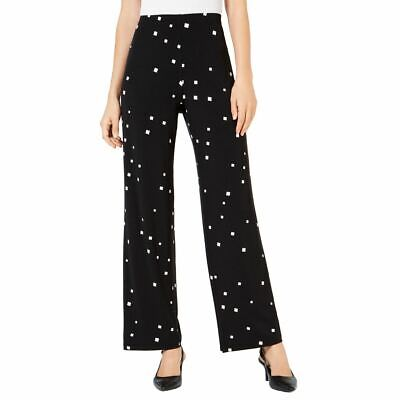 ALFANI NEW Women's Black Geo Print Wide Leg Pull On Palazzo Pants M TEDO