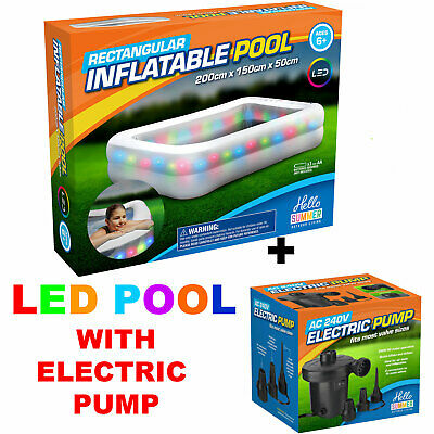 """79/"""" Large Inflatable Rectangular Family Garden Paddling Swimming Pool With Pump"""