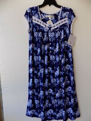Eileen West Indigo Floral Modal Knit Cap Sleeve Lace Trimmed Nightgown Sz S NWT
