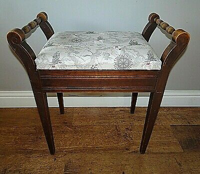Antique Oak Piano Stool with Upholstered Seat (Storage Naval Sea Map Design)