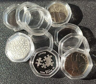 50P Coin Capsules Direct Fit Clear Cases For 50 Pence Uk Stock