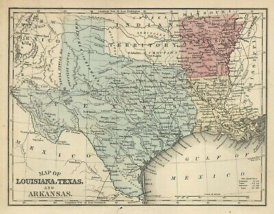 ANTIQUE MAP of LOUISIANA, TEXAS  & ARKANSAS - Hand-colored c. 1885 CHILD'S ATLAS