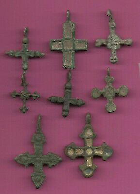 Lot of 8 Russia Bronze Ortodox Cross ca 1050 11-12th Viking Byzantine 671