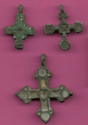 Lot of 3 Russia Bronze Ortodox Cross ca 1050 11-12th Viking Byzantine 680