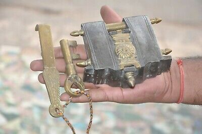Old Iron Big 2 Key Tricky / Puzzle Handcrafted Solid Heavy Padlock, Rich Patina