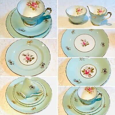 Tea set Vintage - Blue/Pink Roses - English Afternoon Tea China fine Bone China