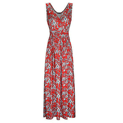 Women Summer Sleeveless V Neck Floral Print Casual Vacation Party Long Dress