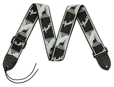 FENDER GUITAR STRAP MONOGRAM LEATHER BLK GITARREN// BASS GURT LEDER VERSTELLBAR