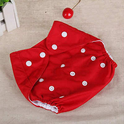Adjustable Reusable Lot Baby Kids Boy Girls Washable Cloth Diaper Nappies Red