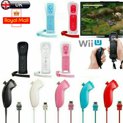 For Nintendo WII Remote And Nunchuck Controller With Silicone Case Wrist Strap ^