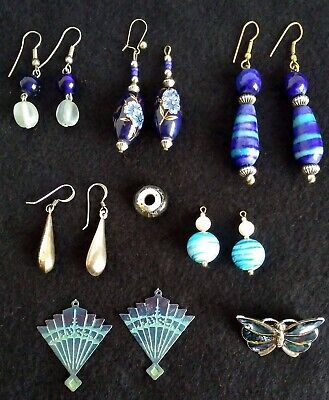job lot of random earrings and jewellery. 8 Blue tone items