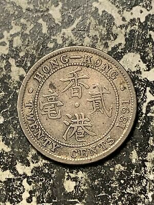 1891 Hong Kong 20 Cents Lot#Q3955 Silver! Low Mintage!