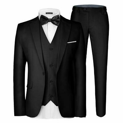 Mage Male Mens Suit Deep Black Size 2XL One Button Slim Fit Tuxedo $80- 514