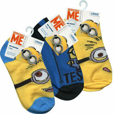 3 PAIR Despicable Me Minions Kids Socks 6-8.5 Shoe 10.5-2.5 NEW