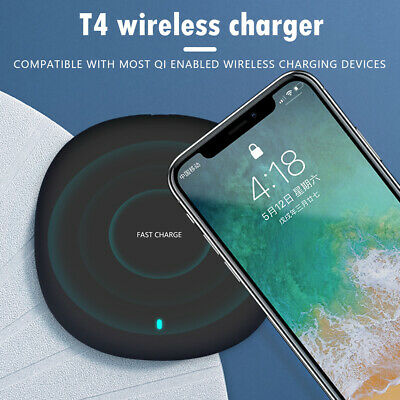 T4 Qi 10W Wireless Charger for iPhone 11 Pro XS Pro Ultra Slim Fast Charging Pad