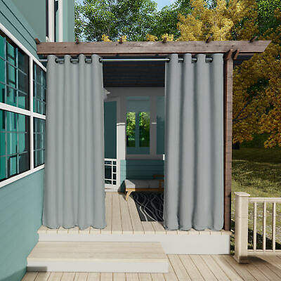 Clothink Outdoor Curtain Waterproof Grommet Top Thermal Insulated Panel Gray