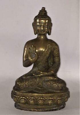 Superb Chinese Qing Dynasty Gilt Bronze Buddha Temple Figure in Abhaya Position