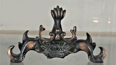 Superb Chinese 17th C Style Bronze Crab Taotie Mask Scholars Brush Rest