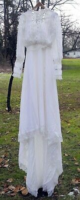 Vintage 1980 Wedding Dress Victorian Style - Size Small - Lace Button Down Back