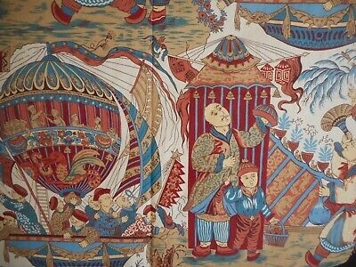 Vintage French Chinoiserie Figural Cotton Fabric ~ Blue Red Terra Cotta ~ Frey?
