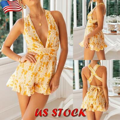 Womens V-Neck Mini Romper Playsuit Ladies Summer Beach Floral Jumpsuit Shorts US