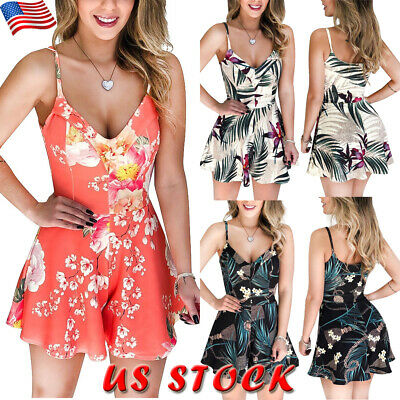 US Womens Floral Straps Romper Jumpsuit Summer Ladies Sleeveless Playsuit Shorts