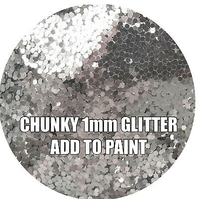 """100g CHUNKY SILVER GLITTER FOR WALLS ADD TO PAINT/VARNISH ADDITIVE .040"""" 1mm"""