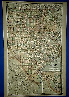 Vintage 1892 TEXAS - OKLAHOMA & INDIAN TERRITORY MAP Old Antique Original