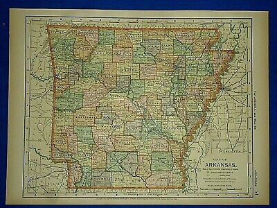 Vintage 1892 ARKANSAS MAP Old Antique Original Atlas Map