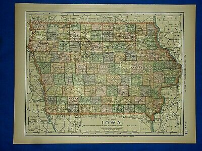 Vintage 1892 IOWA MAP Old Antique Original Atlas Map