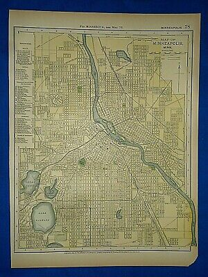 Vintage 1892 MINNEAPOLIS, MINNESOTA MAP Old Antique Original Atlas Map