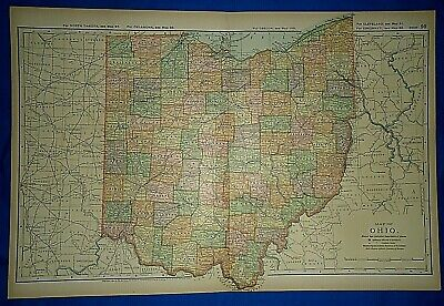 Vintage 1892 OHIO MAP Old Antique Original Atlas Map