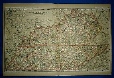 Vintage 1892 KENTUCKY - TENNESSEE MAP Old Antique Original Atlas Map