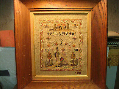 1890 Antique Sampler NUMBERED 1-10 WITH HOUSE TREES  MAN AND WOMAN SIGNED E.B.D