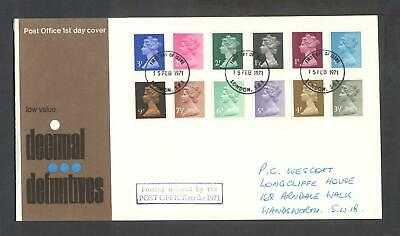 1971 GB, Decimal Definitives, Postage Delayed cachet, First Day Cover