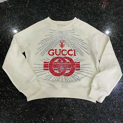 Gucci Beige Crystal Logo Sweater Girls Kids - New - Age 8 - Genuine