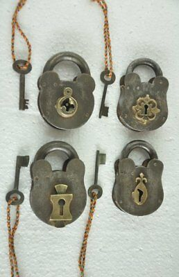 4 Pc Old Iron Handcrafted Different Unique Shape Iron Padlocks , Rich Patina