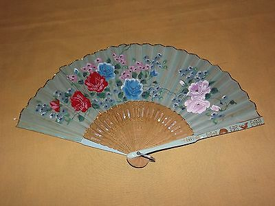"Vintage 8 1/2"" High Flowers Hand Fan"