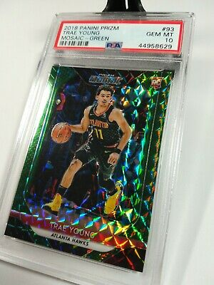 2018-2019 Trae Young PANINI PRIZM MOSAIC GREEN REFRACTOR ROOKIE #93 PSA 10 SP
