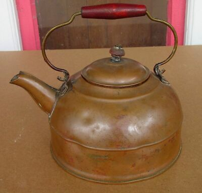 ESTATE FRESH! Old Antique REVERE Rome, New York COPPER TEA KETTLE - Great Patina
