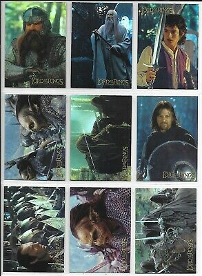 Topps Lord of the Rings FELLOWSHIP PRISMATIC HOLOFOIL Set 1-10 + Wrapper 2001