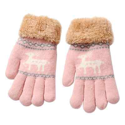 Kid's Girl's Knitted Lined Gloves