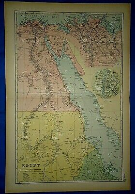 Vintage 1892 EGYPT- CAIRO - RED SEA MAP Old Antique Original Atlas Map