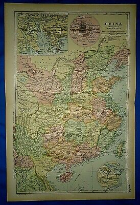 Vintage 1892 CHINA - ANNAM - SIAM - FORMOSA - PEKING MAP Old Antique Original