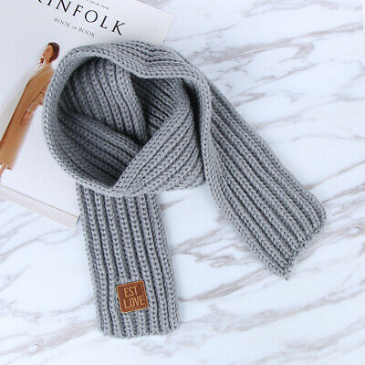 Toddler's Knitted Scarf (Grey, Red, Yellow)
