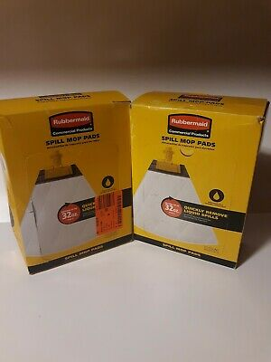 2 Boxes Rubbermaid 2065717 Spill Mop Pads 20 Pads