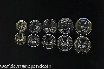 Singapore 5 10 20 50 C 1 Dollar 2013-2019 Merlion Bi Metal Unc Coin Complete Set