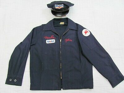 vintage Mobil Oil Service Station Attendant Hat and Jacket Wow Medium Rare Set
