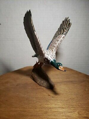 Vintage Hand-Carved Hand-Painted Wooden Mallard Duck Mini Statue